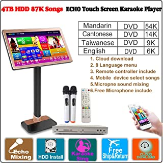 4TB HDD 87K,Chinese (Mandarin,Taiwanese,Cantonese),English Songs,22''Touch Screen Karaoke Player,Microphone Port,ECHO Mixing, Cloud Download,Remote Controller,Free Microphone Include, 觸摸屏,卡拉OK 播放器