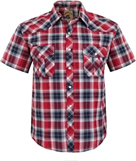 Coevals Club Men's Snap Button Down Plaid Short Sleeve Work Casual Shirt