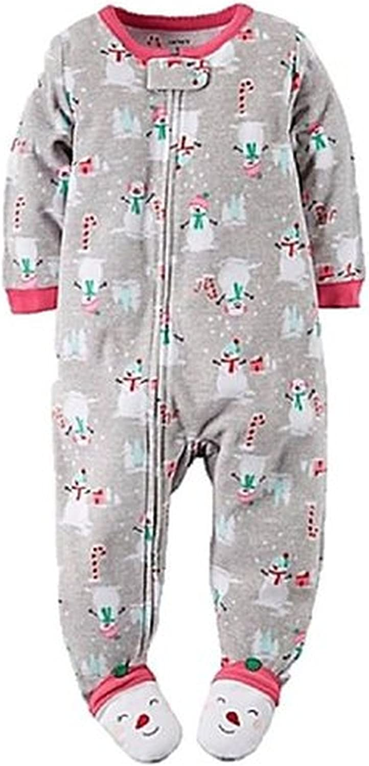 Carter's Girl's 3T Snowman, Candy Canes Fleece Footed Pajama Sleeper Gray