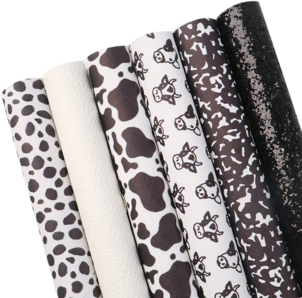 David Elegant accessories Cow Pattern Printed Max 66% OFF Sheets Faux Leather Fabric