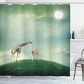 Ambesonne Giraffe Shower Curtain, Mother Child Animal on Meadow Fairytale Atmosphere Stars Romance Moon Image, Cloth Fabric Bathroom Decor Set with Hooks, 70