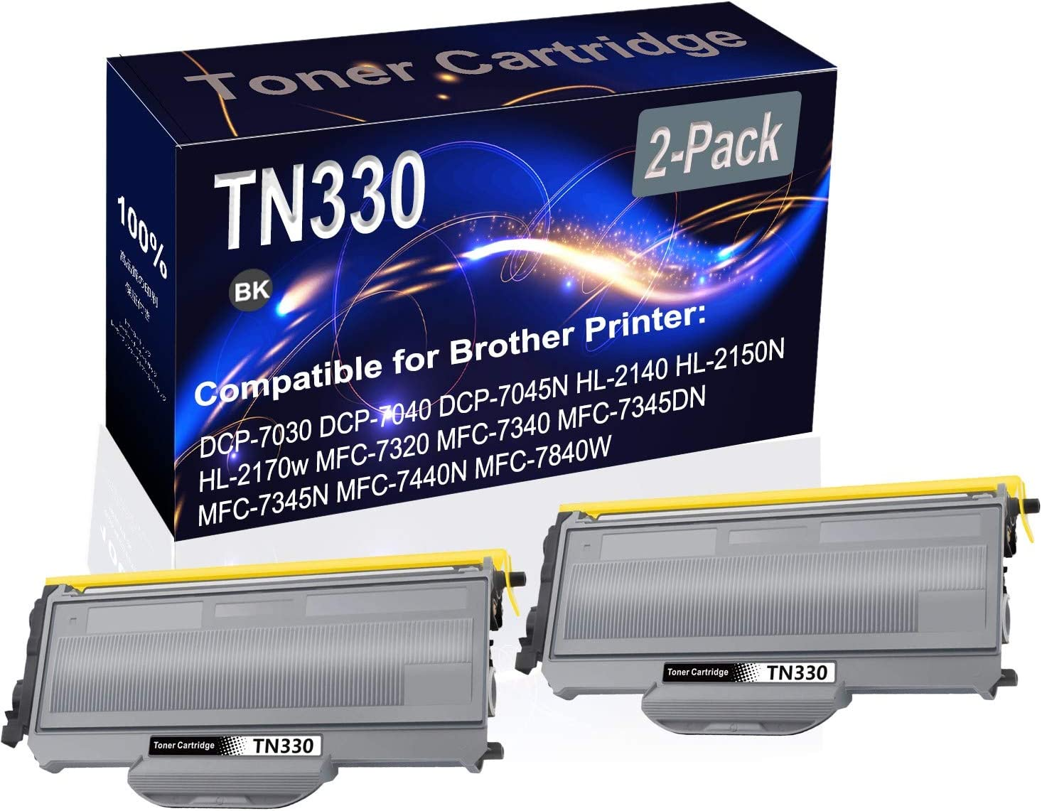 2-Pack (Black) Compatible TN330 (TN-330) Printer Toner Cartridge (High Capacity) fit for Brother DCP-7030 DCP-7040 DCP-7045N HL-2140 HL-2150N HL-2170w MFC-7320 MFC-7340 Printer
