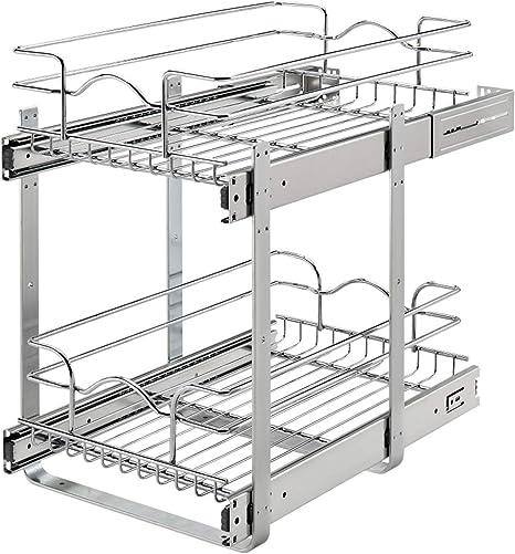 Amazon Com Rev A Shelf 5wb2 1218cr 1 12 X 18 Inch 2 Tier Wire Basket Pull Out Shelf Storage For Kitchen Base Cabinet Organization Chrome Home Improvement