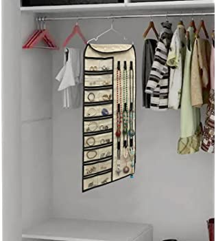 Btromeshy Hanging Jewelry Organizer,Double Sided 56 Pockets & 9 Hook and Loops for Holding Jewelry (Beige)