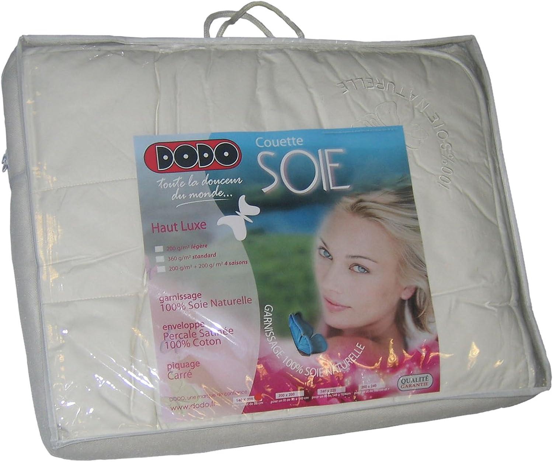 Dodo Couette Soie 4 Saisons 200+300 g m2 140x200, Enveloppe   Percale Satinée 100% Coton, Blanc, 140 x 200 cm