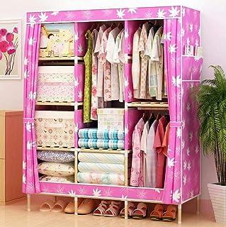 Garde-robe de tissu plié Oxford - Armoire en bois massif, une armoire simple, armoire double stockage simple, cadre large ...