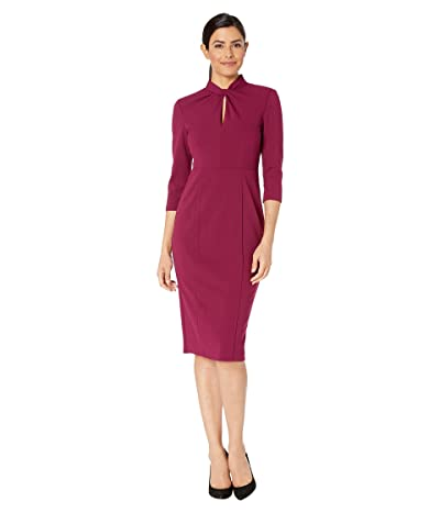 Donna Morgan Long Sleeve Crepe Sheath with Twisted Neckline (Mulberry) Women