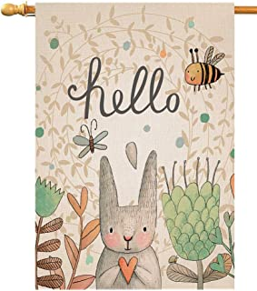 BLKWHT Hello Spring Easer Rabbit House Flag Vertical Double Sided Inch Bunny Bee Yard Outdoor Decor 28 x 40 Inch