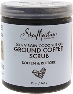 Shea Moisture 100% Virgin Coconut Body Oil for Unisex, Coffee Scrub, 12 Ounce