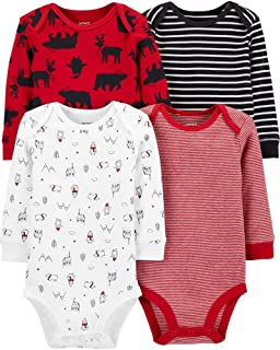 Carter's Baby Boys 4-Pack Long Sleeve Original Bodysuits Holiday (Winter Animals)