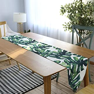 MeterMall Christmas Tablecloth, Digital Printing Cotton Linen Palm Leaf Monstera Leaf Green Leaf Table Cloth Table Runner ...