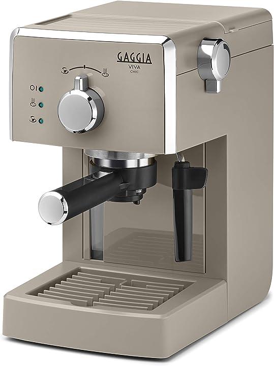 Gaggia viva chic cappuccino macchina da caffè espresso manuale, per macinato e cialde, ri8433/14