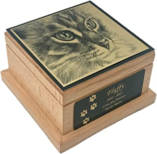 Memorial Pet Urn, Wooden Cat Cremation Urn with Custom Engraving