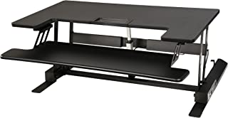 """Electrical Desk Riser / Standing Desk / Sit to Stand Desktop 36"""" Wide Fits 2 Monitors 24"""" Enlarged Detachable Keyboard Tray Electrical Motor with 2 Button Height Adjusting, USB Charging Port"""