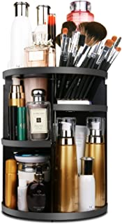 MOFIR Makeup Organizer 360 Degree Rotating, Adjustable Multi-Function Cosmetics Storage Box, Small Size Extra Large Capacity, Fits Different Sizes of Cosmetics … (Circle, Black)