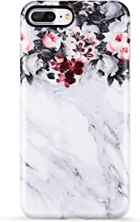 iPhone 8 Plus Case,iPhone 7 Plus Case,VIVIBIN Cute Floral and Grey Marble for Women Girls Clear Bumper Soft Silicone Rubber TPU Cover Slim Fit Protective Phone Case for iPhone 7 Plus/iPhone 8 Plus