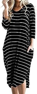 Women T Shirt Dress Oversized Boho Stripes Dress 3/4 Long Sleeves Dresses with Pocket