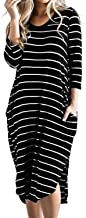 CNFIO Women T Shirt Dress Oversized Boho Stripes Dress 3/4 Long Sleeves Dresses with Pocket