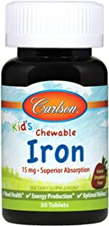 Carlson - Kid's Chewable Iron, 15 mg, Superior Absorption, Blood Health, Energy Production & Optimal Wellness, Natural Str...
