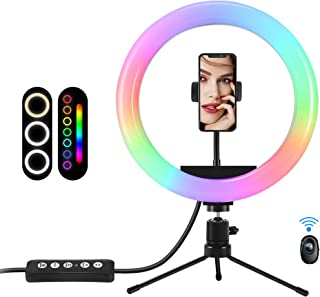 10inch Ring Light with Tripod Stand and Phone Holder, RGB LED Dimmable Selfie Ring Light Kits with Bluetooth Remote Shutte...