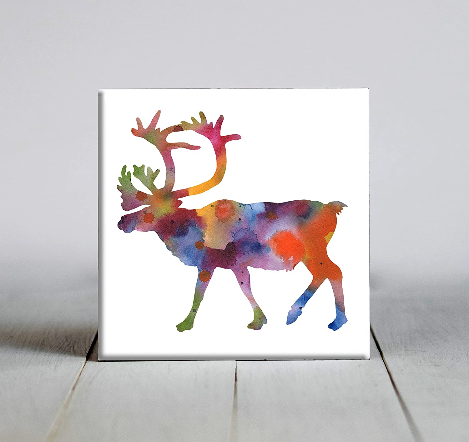 Abstract Caribou Watercolor Art Decorative store Tile 6 Fees free X Framed