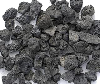 Black Lava Rocks for Fire Pit, 1 Cu Ft, (35 to 40 pounds). Naturally Formed Volcanic Rock Mined in The USA. Varies in Size from 1/2