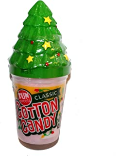 Fun Sweets (1) Tub Cotton Candy - Classic Flavor - Holiday Edition with Christmas Tree Design Coin Bank - Net Wt. 1.5 oz