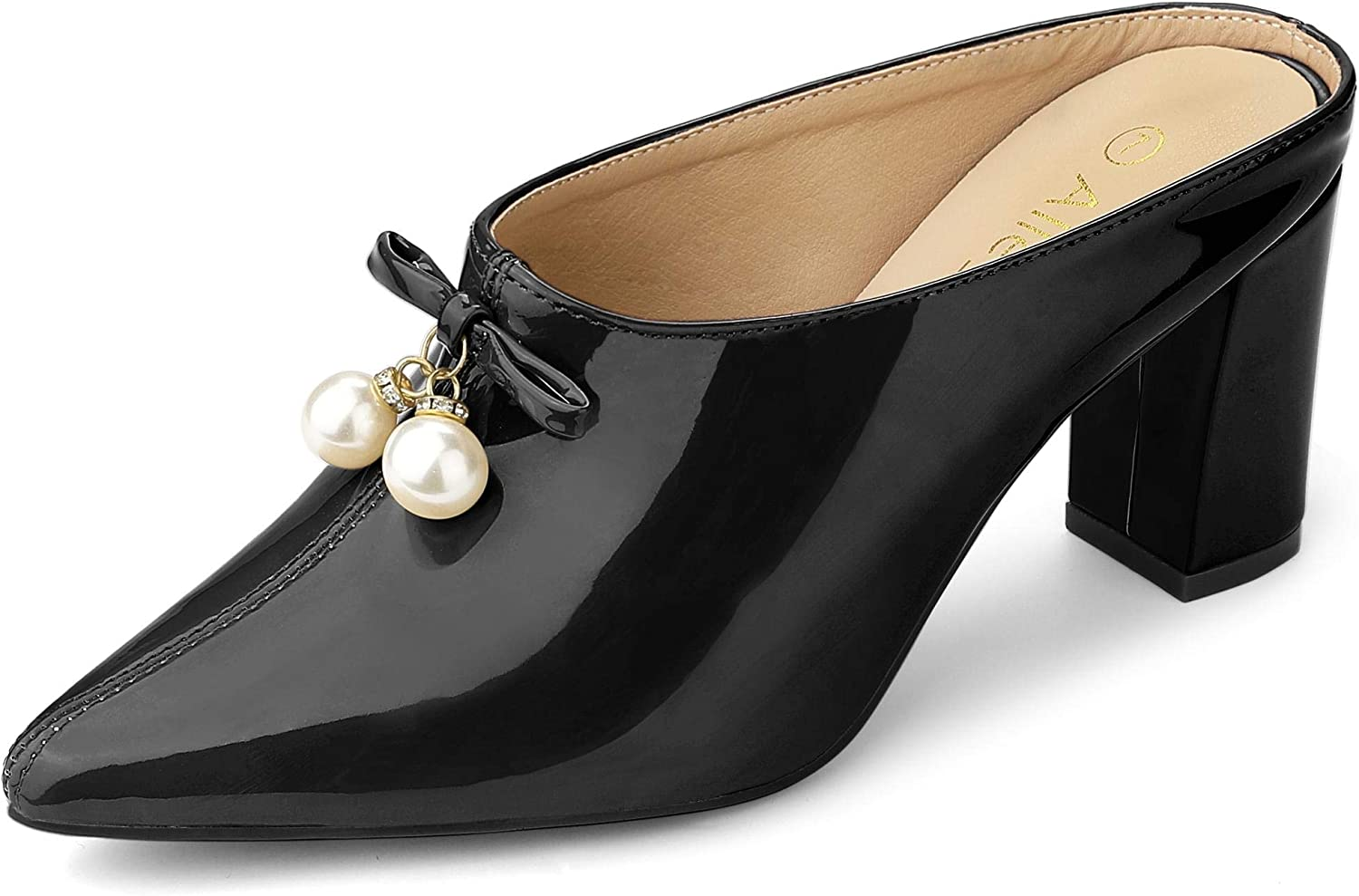 Allegra OFFicial K Cheap super special price Women's Pointed Toe Pearl Bow Mules Heel Slides Chunky