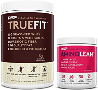 AminoLean Pre Workout Energy (Fruit Punch 30 Servings) with TrueFit Protein Powder (Chocolate 2 LB)