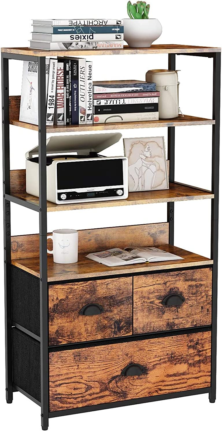 Furologee 4-Tier Storage Shelf with 3 Drawers ,Bookshelf Rack & Organizer Dresser ,Storage Cabinet for Books, Photos, Decorations in Living Room, Office, Bedroom,Kitchen, Sturdy Metal Frame,Wood Top
