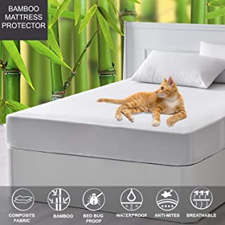 Linenwalas Short Queen Mattress Protector for RV - Bamboo Terry Soft,Cool,Breathable,Waterproof Matress Protection Cover for Camper (Short Queen)