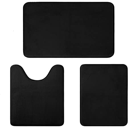 Aoacreations Memory Foam Bath Rug Bathroom Mat Set Of 3 Soft Plush Absorbent Low Pile Includes 1 Large 20 X 32 1 Contour 20 X 20 1 Small 16 X 24