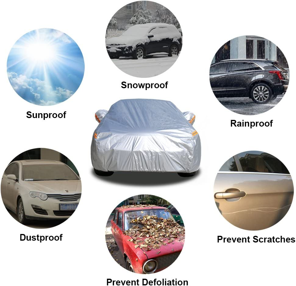 2XL 174 to 187 Inch Kayme Car Covers for Automobiles Waterproof All Weather Sun Uv Rain Protection with Zipper Mirror Pocket Fit Hatchback