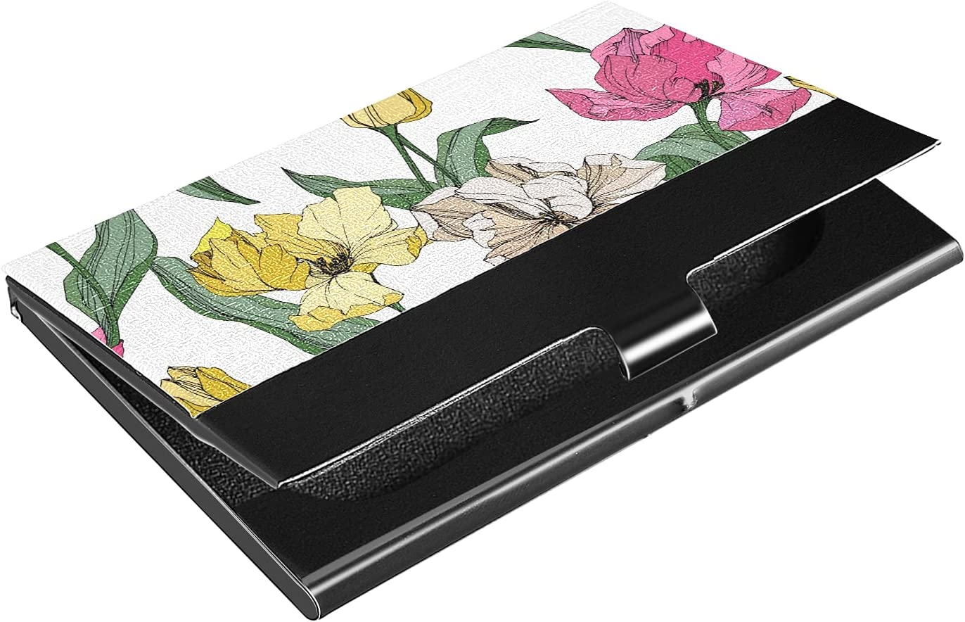 OTVEE Colorful Tulip Flowers Business Card Holder Wallet Stainless Steel & Leather Pocket Business Card Case Organizer Slim Name Card ID Card Holders Credit Card Wallet Carrier Purse for Women Men