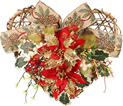 BAODAN Guirlandas de Natal, guirlanda artificial de Natal para pendurar na parede da porta da frente de ratã, flores artif...
