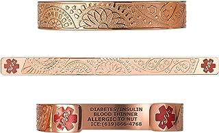 Custom Engraved Medical Alert Bracelets for Women, Stainless Steel Medical Bracelet, Medical ID Bracelet w/Free Engraving - Fancy Paisley w/ 6