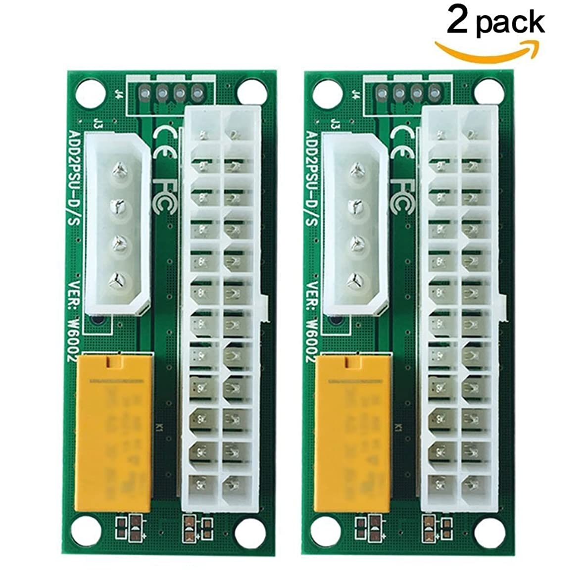 BAY Direct 2-PACK Add2PSU Multiple Power Supply Adapter (ATX 24Pin to Molex 4Pin) and Daisy Chain Connector-Ethereum Mining ETH Rig Dual power supply Connector