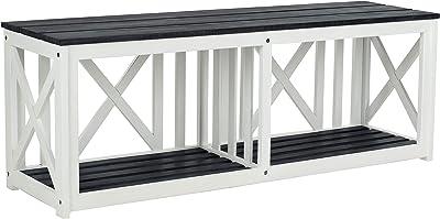 Safavieh FOX6706K Outdoor Collection Branco Grey Bench, Dark Slate Gray/White