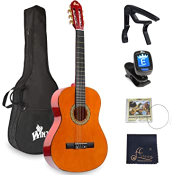 WINZZ 39 Inches Classical Guitar Full Size Beginner Acoustic with Bag Capo Tuner Strings