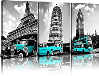 sunfrower Teal Classic Car Wall Art Decor Black and White Paris Eiffel Tower Framed Canvas Print Europe City Building London Picture Living Room Decoration 3 Panels 12inches × 16inches