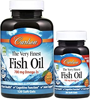 Carlson - The Very Finest Fish Oil, 700 mg Omega-3s, Norwegian, Sustainably Sourced, Orange, 120+30 Soft gels