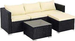 SONGMICS Conjunto de 5 Muebles de jardín, Mueble de Exterior de ratán Tejido a Mano, Sofá de Exterior, Mesa de Centro con Tablero de Cristal, con Cojines, Negro y Beige GGF005B01