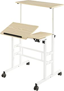 SDADI Height Adjustable Sit Stand Desk Home Office Desk Mobile Standing Desk Rolling Laptop Cart Computer Workstation, Lig...