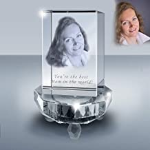 Goodcount.com Customized Photo Crystal Rectangle, Engrave Your Own Picture in Crystal, Etched Picture in Glass Cube w/Crystal LED Lighted Base Gift Set (M 2 x 2 x 3)