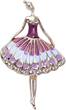 sourjas Brass Alloy Cubic Zircon Ballet Dancer Dancing Girl Brooch Lady Shirt Suit Dress Accessory