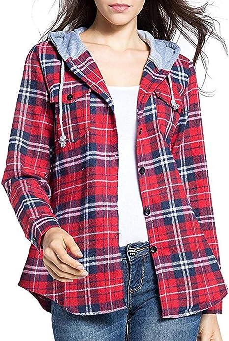 Camisa Cuadros Mujer Rebeca Chaqueta Blusa de Manga Larga con Capucha de Cuadros Escoceses clásicos de Moda para Mujer Blusa Sudadera Escocesa con ...
