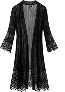 Flare Sleeves Open Front Lace Splicing Long Kimono Cardigan Cover Ups