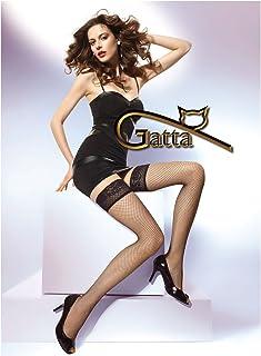 Gatta Margherita 01 - elegante halterlosere Netzstrümpfe mit modischem Abschluss