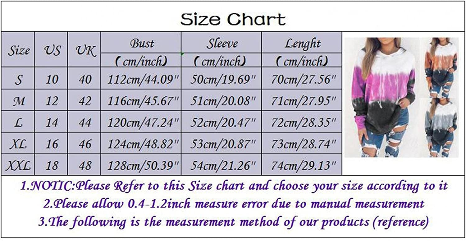 Haheyrte Hoodies for Womens Long Sleeve Gradient Print Hooded Jacket Blouse Casual Sweatshirts Pullover Tops Shirts Sweaters