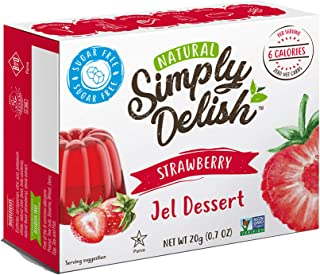 Simply Delish Natural Strawberry Jel Dessert - Sugar Free, Non GMO, Gluten Free, Fat Free, Vegan, Keto Friendly - 0.7 OZ (Pack of 6)